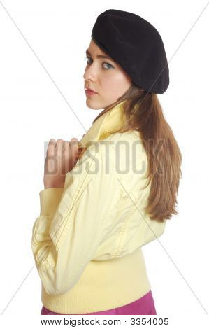 Sad Young Woman In A Beret