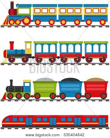 Cartoon Train With Carriages. A Cartoon Railway With A Locomotive And Wagons. Vector Illustration Of