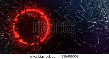 Dark Background Made Of Bullets With Glowing Red Circle Of Light For Logo And Dark Copy Space. Gamin