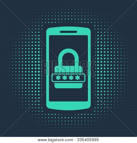 Green Mobile Phone And Password Protection Icon Isolated On Blue Background. Security, Safety, Perso