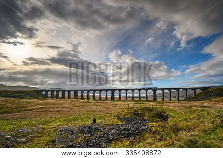 Train On Ribblehead Viaduct, Which Carries The Settle To Carlisle Railway Across Batty Moss Spanning