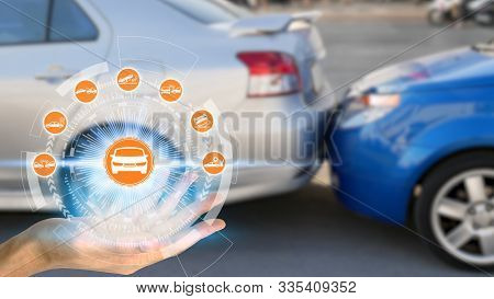 Hand Holding With Car Claim Icons Over The Network Connection On Car Crash Background, Car Accident