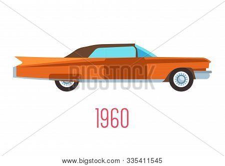 Retro Car Of 1960s, Vintage Vehicle Isolated Icon