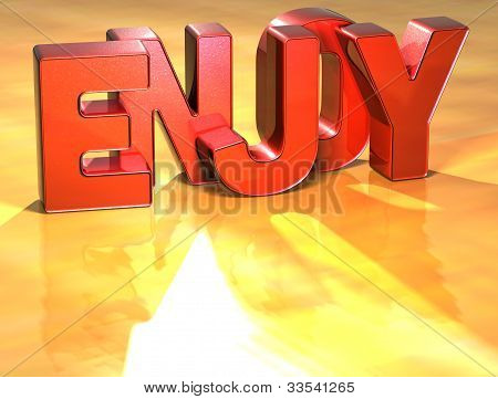 Word Enjoy On Yellow Background