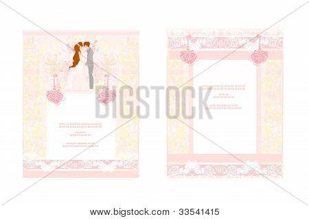 elegant wedding invitation with wedding couple set , vector illustration