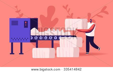 Man Textile Factory Worker Put Raw Cotton Material On Conveyor Belt For Pressing And Making Bales In
