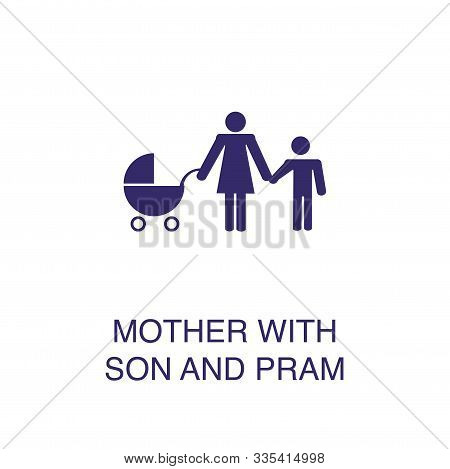 Woman With Son And Pram Element In Flat Simple Style On White Background. Woman With Son And Pram Ic