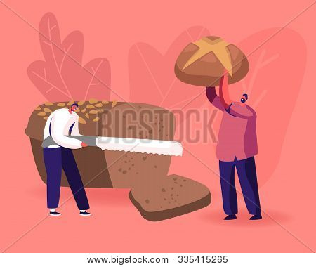Happy People Eating Bakery. Tiny Man Slicing Huge Brown Tommy With Knife, Male Character Holding Bak