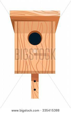 Nesting Box Or Birdhouse Isolated Icon, Wooden Handicraft
