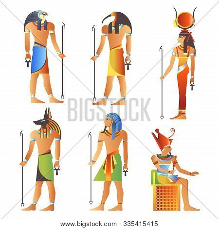 Egyptian Gods And Goddess, Pharaoh Of Egypt, Diety Isolated Icons