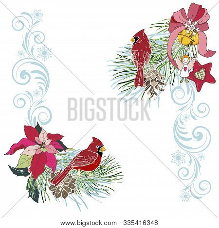 Christmas Toys, Birds Cardinals And Winter Plants, Christmas Design Template, Vector Illustration