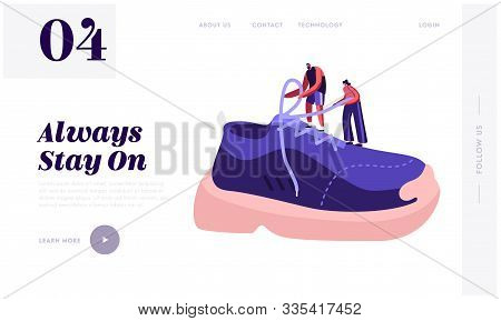 Shoes For Training Fashion Website Landing Page. Tiny Sportsman And Sportswoman Tie Shoelaces On Hug
