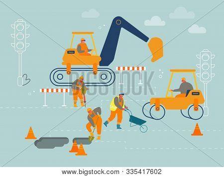 Road Repair With Construction Roller Machine, Excavator Dig Hole In Ground, Builders Remove Soil Wit