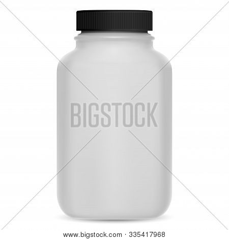 Supplement Bottle. Vitamin Pill 3d Package Mockup. Plastic Medicine Container For Tablet, Capsule. M