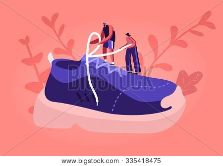 Sportswear And Shoes For Training Fashion Concept. Tiny Sportsman And Sportswoman Characters Tie Sho
