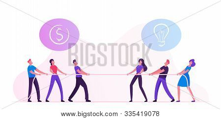Opposite Groups Of Businesspeople Tug Of War Process. Businessmen And Businesswomen Pulling Rope Wit
