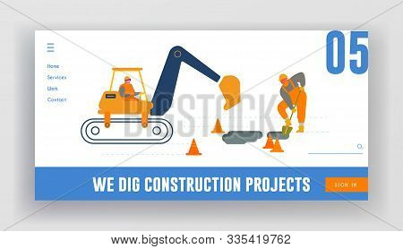 Bagger Excavating Work On Road Repair Or Construction Site Foundation Website Landing Page. Excavato