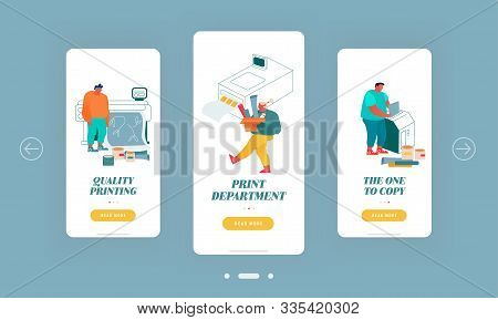Printing House Typography Service Mobile App Page Onboard Screen Set. Designers Working With Printer