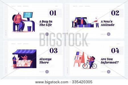 People Create And Distribute Typography Production Website Landing Page Set. Print House Workers Pri