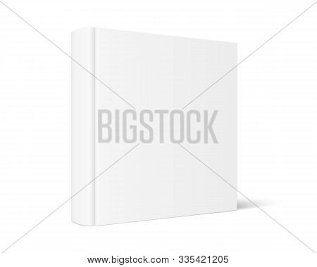 Vector Mock Up Of Standing Book With White Blank Cover Isolated. Closed Square Hardcover Book, Catal