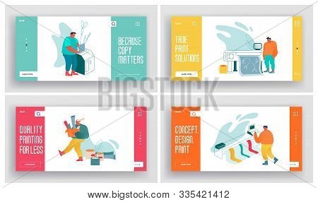 Printing House Advertising Agency, Polygraphy Industry Website Landing Page Set. Designers Producing