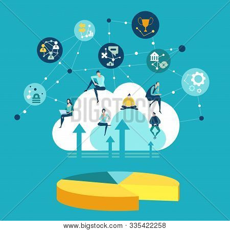 People Working On Cloud. Big Data Concept, World Wide Connections, Information Accsess.