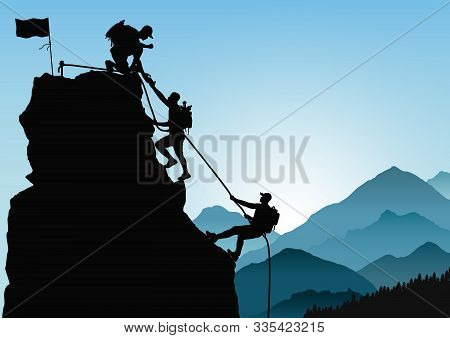 Silhouette Of Three Men Climbing Mountain By Helping Each Other On Blue Mountains Background, Succes