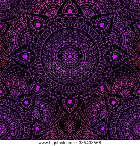 Seamless Pattern, Laced Pattern With Gradient Pink And Violet Mandala On Black Background. Gypsy, Et