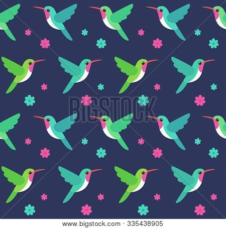 Hummingbirds And Flowers Seamless Pattern. Floral Background With Colibri Birds, Tropical Nature Vec