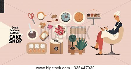 Cake Shop, Cakes On Demand - Small Business Graphics - Baker Taking Order -modern Flat Vector Concep