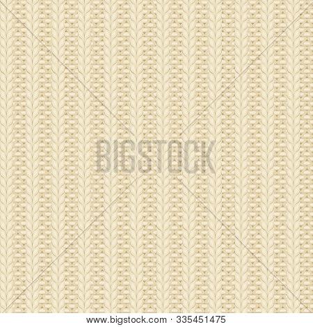 Seamless Rib Knit Beige Pattern. Handycraft Backgroung
