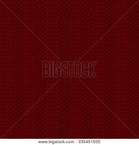 Seamless Rib Knit Dark Red Pattern. Handicraft Backgroung