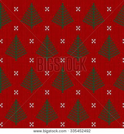Seamless Knit Red Pattern With Fir Tree. Christmas Scandinavian Fail Isle Backgroung