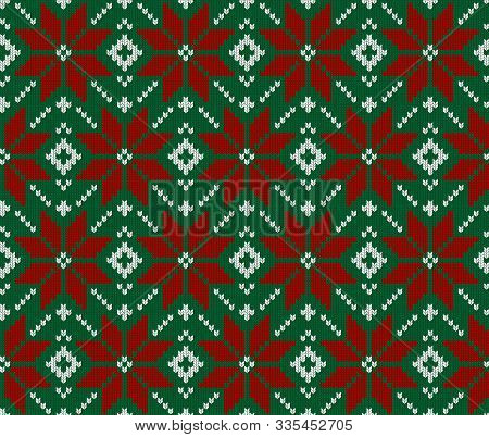 Seamless Knit Green, Red And White Pattern. Christmas Scandinavian Fail Isle Backgroung