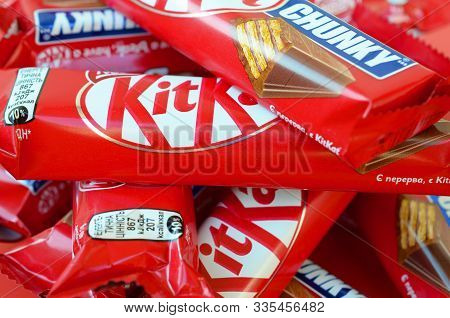 Kit Kat Is A Chocolate Covered Wafer Bar Created In 1911 By Rowntrees Of York, England. Nestle Which