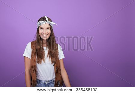 Smiling Girl Iphoto On A Purple Background. Young Student. Pupil. A Generation Of Millennials. Retro