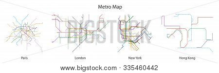 Map Of Subway Vector Black Set Icon.vector Illustration Line Metro On White Background.isolated Icon