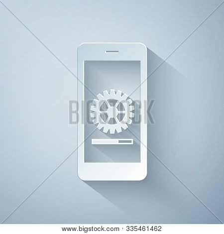 Paper Cut Smartphone Update Process With Gearbox Progress And Loading Bar Icon Isolated On Grey Back