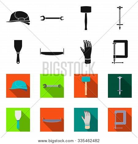 Vector Illustration Of Renovation And Household Sign. Collection Of Renovation And Handicraft Stock