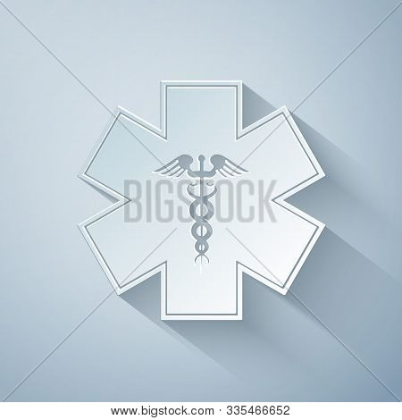 Paper Cut Emergency Star - Medical Symbol Caduceus Snake With Stick Icon Isolated On Grey Background