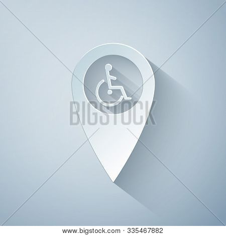 Paper Cut Disabled Handicap In Map Pointer Icon Isolated On Grey Background. Invalid Symbol. Wheelch