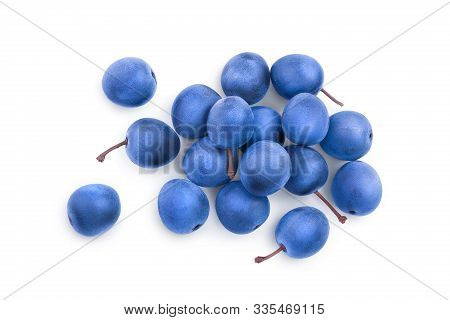 Blackthorn Or Sloe Berries Isolated On White Background. Prunus Spinosa. Top View. Flat Lay