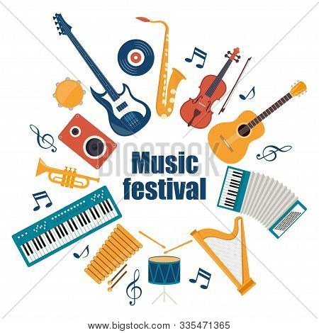 Musical Instruments And Vinyl Record. Music Festival Invitation. Guitar, Synthesizer, Violin, Cello,