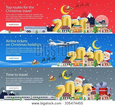 New Year And Merry Christmas 2020. Banners Set For Advertising. The Winter Vacation. Traveling By Pl