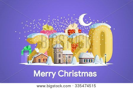 New Year 2020. Greeting Card. A Small Town In Mountains. The Winter Vacation. Flat 3d Numbers And Ob