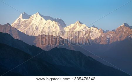 Evening View Of Hindukush Or Hindu Kush Mountain Ridge, Tahikistan And Afghanistan, View From Pamir