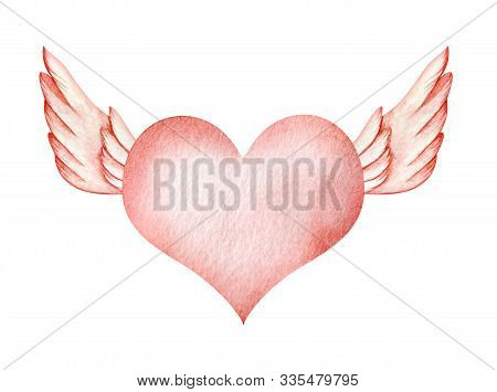Abstract Watercolor Background. Soft Rose Pink Heart Shape With Angel Wings. Gradiented Textural Dec