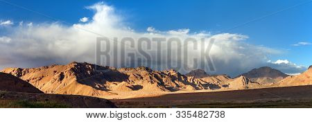 Beautiful Landscape Panorama Of Pamir Mountains Area In Tajikistan Gorno-badakhshan. Pamir Highway.