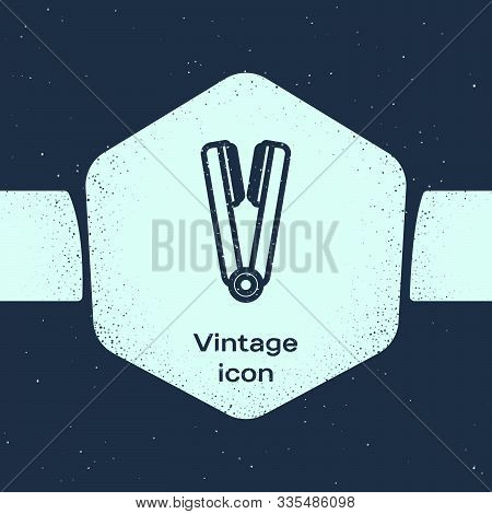 Grunge Line Curling Iron For Hair Icon Isolated On Blue Background. Hair Straightener Icon. Monochro