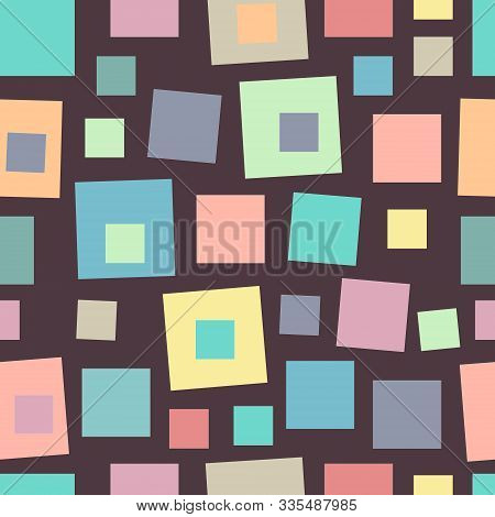 Geometrical Seamless Pattern With Various Multicolored Square Shapes In Pastel Colors. Colorful Vint